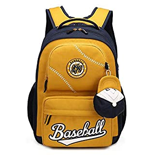 Zfggd American Baseball Caps School Bags Children Student Backpack, 32 * 13 * 43cm (Color : Yellow)