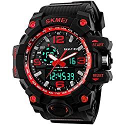TTLIFE Waistwatch Mens Watch Big Dial Digital Watch Water Resistant Watch Date Calendar Sports Watches Stopwatch Alarm Watch Dual Time Display watch(red)