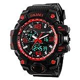 TTLIFE orologio da polso della di Mens digitale orologio resistente Guardare sportivi Allarme Cronometro (rosso)