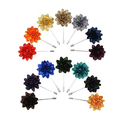 Soleebee YM030 Ansteckblumen Gemischt zufällig Herren Handgefertigt Revers Pin Blume Set im Knopfloch Schläger Revers Krawatte Brosche Blume Boutonniere für Anzug (zufällig 12 Stück)