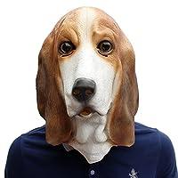 Hnks-Home Halloween mask Halloween Festival Latex Dog Mask Basset Dog Headgear Party Supplies Pet Novel Halloween costume party