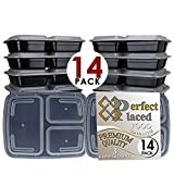 [14-PACK] 3 Compartment Meal Prep Containers with Airtight Lids.  Microwave & Dishwasher Safe, Portable, Reusable, Stackable, BPA Free, Top Quality Portion Control Bento Lunch Box Food Containers.  Comes with Free eBook (worth £11.99)