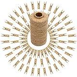 100 Stück Mini Holz Wäscheklammern, Holzklammern klein für Fotopapier Stöpsel mit 100 m Jute-Schnur