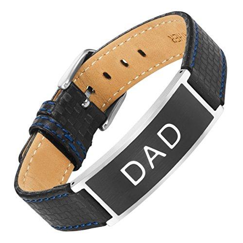 Willis judd dad in acciaio e fibra di carbonio braccialetto inciso love you dad con sacchetto regalo