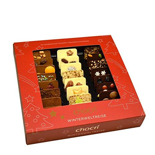 "chocri""Winterweltreise"" Mini-Schokoladen-Tafeln - 24 Mini-Schoko-Tafeln mit handbestreut mit winterlichen Zutaten - Fairtrade-Kakao"