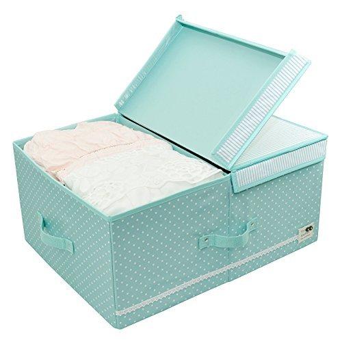 Design pieghevole, Clothes Organizer carrello Bins, Spazio oversize, schede rimovibili Divide, robuste maniglie, Velcro copertura della scatola per Under Bed bagagli, da 60 litri (Menta verde)