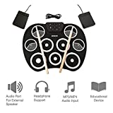 Jackeylove Digital Electronic Drum USB Roll up Drum Pad Kits 9 Pads Portable Folable Practice Instrument in Speaker mit 2 Foot Pedals und Trommelsticks