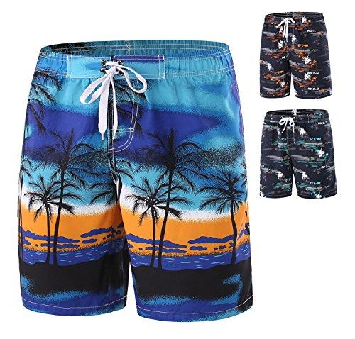 Srizgo Badeshorts Herren Sommer Badehose Männer kurz Beachshorts Boardshorts Bademode für Strand und Wassersport (EU XL, Blau/Orange)
