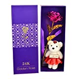 #10: Skylofts 24K Pink Rose with I Love You Teddy Bear Doll, Gift Box and Carry Bag - Best Valentine's Day Gift, Birthday Gifts Gold Dipped Rose
