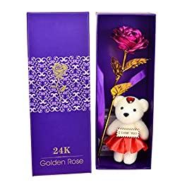 Skylofts 24K Pink Rose with I Love You Teddy Bear Doll, Gift Box and Carry Bag – Best, Birthday Gifts Gold Dipped Rose