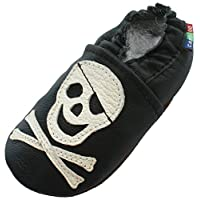 Soft Sole Leather Baby Shoes Toddler Kids Slippers Carozoo Pirate Black 12-18M