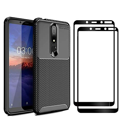XIFAN Nokia 3.1 Plus Hülle und Displayschutzfolie, [1 Pack] Slim Soft Shockproof Case + [2 Pack] 9H gehärtetes Glas [HD Ultra] für Nokia 3.1 Plus - Schwarz 1 Pack Slim Case