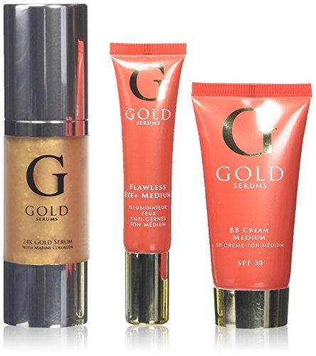 GOLD SERUMS Coffret Anti-Age Baume Beauté Medium + Soin Contour des Yeux Irréprochable Medium + Sérum 24k + Collagène Marin 3 Bouteilles de 100 ml