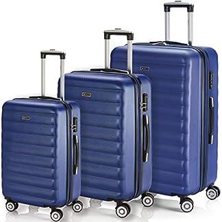 ITACA – Juego de Maletas Rígidas de Viaje 4 Ruedas Trolley 55/65 cm ABS. Extensibles Duras Resistentes Cómodas y Ligeras. Tamaños Pequeña Cabina y Mediana. Diseño y Calidad. 71215, Color Amarillo