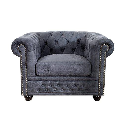 Edler Chesterfield Sessel Antik Grau mit Knopfheftung Polstersessel Wohnzimmersessel