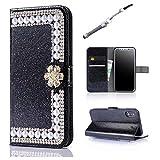 JINCHANGWU iPhone X cover pelle Guscio Diamante Design Chiusura Magnetica Shock-Absorption Cuoio Caso Custodia Protettiva + bling Pennino - nero