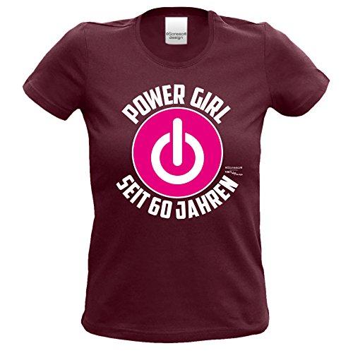 Geburtstagsgeschenk für Sie Damen T-Shirt Frauen Power Girl Woman Seit 60 Jahren Geschenk zum 60. Geburtstag Motiv / Power Knopf Burgund