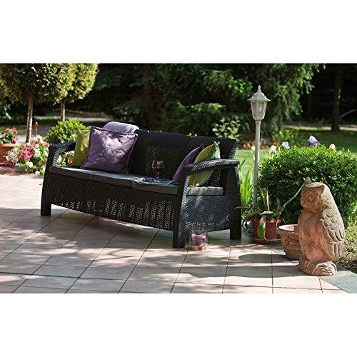 JUSTyou Corfu Max Sofa Couch Gartenbank Rattan 3-Sitzer Sofa in Rattan-Optik Anthrazit Grau - 3