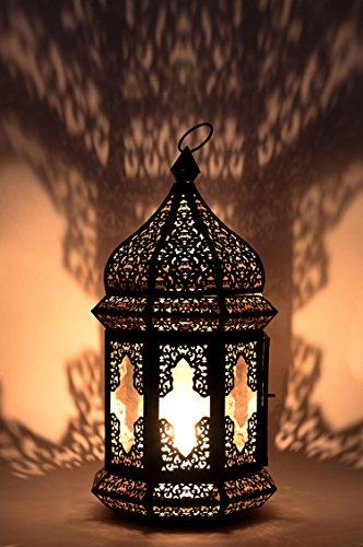 Orientalische Laterne aus Metall & Glas Wifaq Klar 40cm | orientalisches Windlicht schwarz mit Glas | Marokkanische Glaslaterne für draußen als Gartenlaterne, oder Innen als Tischlaterne (Outdoor-kerze-laterne Groß)