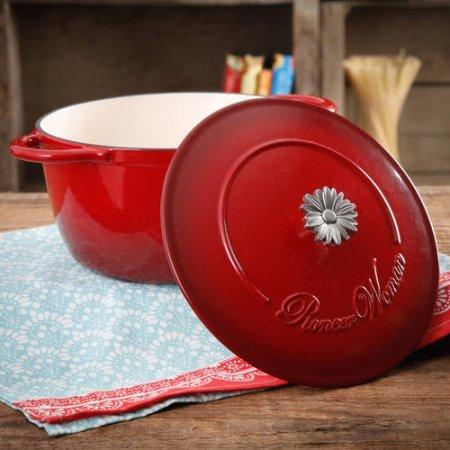 Die Pioneer Frau Timeless Beauty Gradient 5-quart Dutch Oven mit Gänseblümchen und Bakelit-Knopf, rot Bakelit Dutch Oven