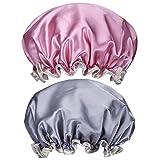 2 bonnets de douche RXBC2011 pour femme, imperméable, avec élastique, double