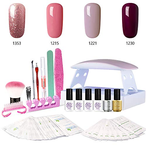 Sexy Mix UV Nagellack Starterset, mit UV/LED Nagel Mini Lampe Kit, 4 Gel Nagellack + 2 Base Coat und Top Mantel Maniküre Tools