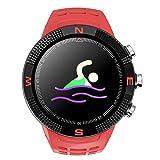 Zerone Fitness Tracker Reloj Deportivo GPS al Aire Libre Smartwatch Pulsera Impermeable Pedometer para Monitor de sueño Condición de Salud Smartwatch(Rojo)