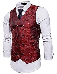 STTLZMC Elegante Herren Weste Formal Paisley Slim Fit Retro Stil Blazer