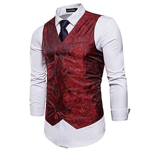 STTLZMC Elegante Herren Weste Formal Paisley Slim Fit Retro Stil Blazer,Rot,XL