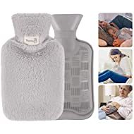 GoodGoodday Hot Water Bag, Hot Water Bottle Cover 1 Litre Hot Water Bag With Novelty Plush Super Soft Cover Premium Natural Rubber - Hot Water Bag for Pain Relief (Grey)