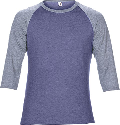 Amboss Erwachsene Tri Blend 3/4 Sleeve Raglan Tee Herren Casual Crew Neck Semi ausgestattet Top - Heather Blue/ Heather Grey