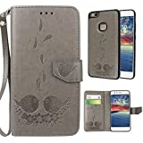 Huawei P10 Lite Flip Case, Huawei P10 Lite Leather Wallet Cover Case, Rosa Schleife 2 In 1 Detachable PU Leather Embossed Birds Floral Smart Cellphone Case Protective Cases Covers For Huawei P10 Lite