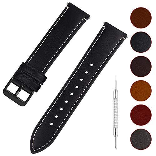 14 Schwarz Leder (Fullmosa Uhrenarmband Leder mit Schnellverschluss, Wax Oil Serie in 14mm,Schwarz+Rauchgraue Schnalle)
