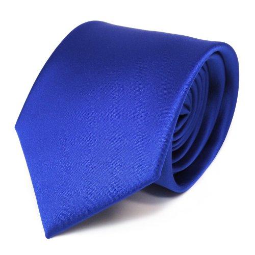 TigerTie Satin Krawatte in blau royalblau uni Polyester - Schlips Binder Tie