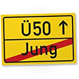 DankeDir! Ü50 Ortsschild - Kunststoff Schild, Geschenk 50. Geburtstag, Geschenkidee Geburtstagsgeschenk Fünzigsten, Geburtstagsdeko/Partydeko / Party Zubehör/Geburtstagskarte