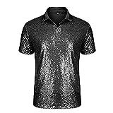 Herren Metallic Silber Hemd Nachtclub Styles Pailletten Kurzarm Polo Shirt Glänzend Slim Fit Disco Dance Tops Kostüm Party Clubwear Halloween/Cosplay Kostüm,Black,XL