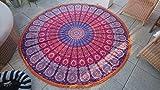NANDNANDINI TEXTILE- Indische Mandala Runde Roundie Strand Wurf Tapisserie Hippie Boho Zigeuner Baumwolle Tischdecke Strand Handtuch, Runde Yoga Mat