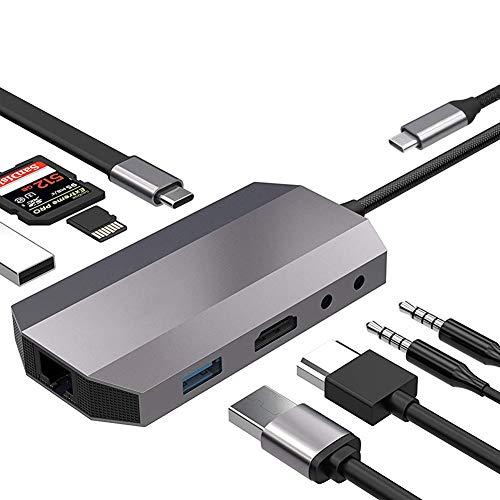 USB Typ C HUB, Audio Thunderbolt 3 Adapter mit 4K HDMI RJ45 1000Mbps USB 3.0 Dex Station für Samsung Note 8 S8 S9 MacBook Pro