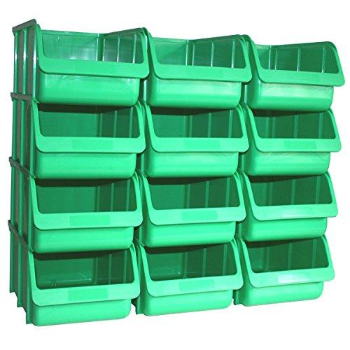 12 Profi Lager-Sichtboxen PP Größe 4 in Farbe Grün (Grün 4 In)