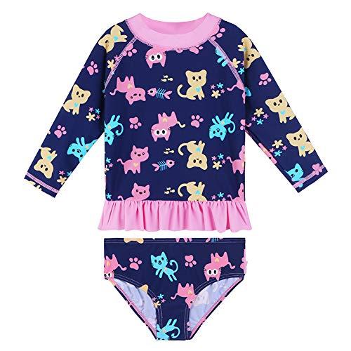 HUAANIUE Mädchen Badeanzug Ärmeln Bademode Bikini Baby Kinder Badekleidung für Schwimmen Schwimmsportbekleidung UPF 50+ UV-Schutz Pink-Schloss 1-6 Jahre