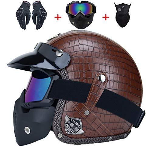 Adulto Harely moto casco retro in pelle anti shock aperto faccia moto Helmeys moto motocross tappi di sicurezza cappello per tutte le stagio
