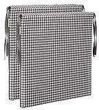 Brandsseller Sitzkissen Stuhlkissen kariert Kissen Sitzpolster - 40 x 40 cm (2er-Paket, grau)