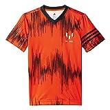 adidas YB M Aop Tee - Camiseta para niño, color naranja / negro, talla 128