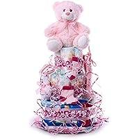 Tarta de pañales DODOT. Un regalo original para el bebé recién nacido incluyendo peluche, calcetines, babero, toallas DODOT y toalla facial.