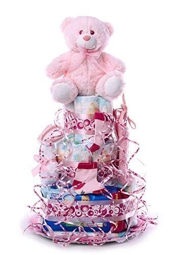 Flores AVRIL ofrece: tarta de pañales para bebé niña. Un regalo original para el bebé recién nacido...