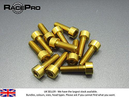 Preisvergleich Produktbild RacePro - 4x Titanium Parallel Kantschraube Allen - M4 x 20mm x 0.7mm - Gold