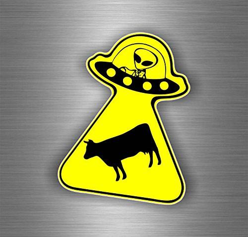 Aufkleber Sticker für Auto Motorrad Biker MacBook, UFO Alien Ufo Fliegende Untertasse