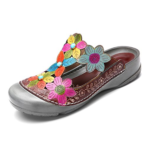 38aebcc1c Gracosy Plataforma para Mujer Sandalias de Cuero Plantilla Suave Sandalias  Antideslizantes Flores Coloridas Zapatillas Huecas Ocio al Aire Libre  Zapatos ...