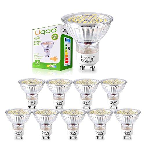 Pack de 10 bombillas LED de 5W casquillo GU10 marca Liqoo