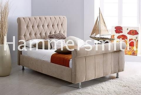 Manhatten traîneau avec grand lit Design en velours Sale., crème, 153 cm
